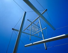 Picture of The Needle Tower -- a 1969 tensegrity sculpture by artist Kenneth Snelson -- viewed from below.