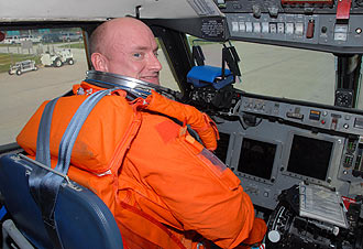Commander Scott Kelly in the Shuttle Training Aircraft