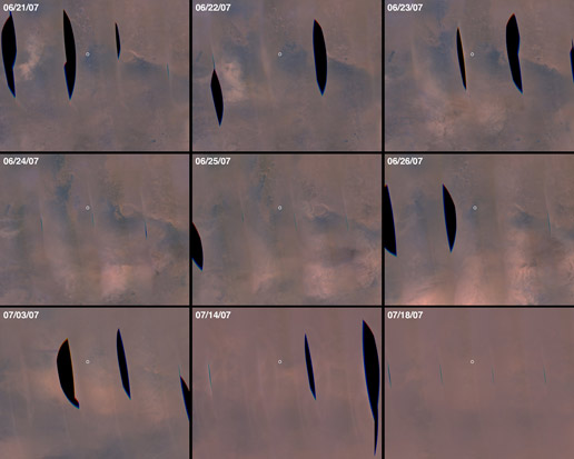 Series of MRO MARCI image mosaics of a portion of Mars showing changes in dust storm activity and dust obscuration from 21 June through 18 July 2007.