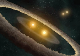 artist concept depicts a quadruple-star system