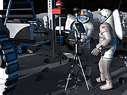 Artist's concept showing two astronauts in white suits working with equipment on the moon