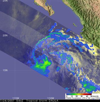 Image of Tropical Storm Dalila on July 24, 2007 taken by TRMM