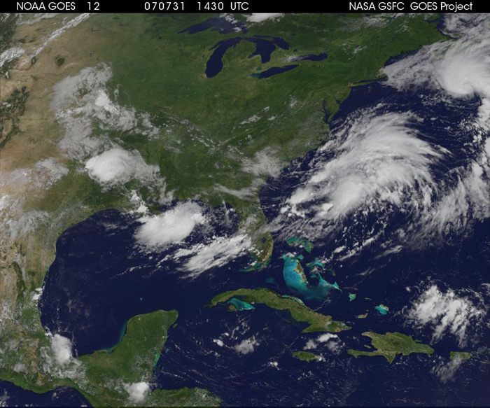 Caption from NASA: The third tropical depression of the Atlantic hurricane season formed around 11:00 p.m. EDT on Monday, July 30 west of Bermuda. Exactly 12 hours later on Tuesday, July 31, at 11:00 a.m. EDT, the storm strengthened into a tropical storm with sustained winds of 40 mph and higher gusts. At that time, the storm was named Tropical Storm Chantal. Chantal was located near latitude 40.2 north and longitude 62.7 west, about 330 miles (530 km) south of Halifax, Nova Scotia and is moving rapidly toward the northeast near 23 mph (37 km/hr). Chantal is not a threat to the United States.
