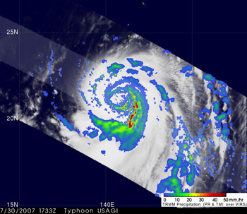 Image of Tropical Storm Usagi seen by TRMM on July 31, 2007