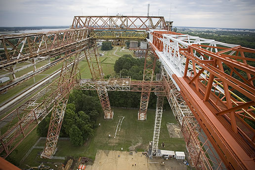 View from atop the NASA gantry that shows unfinished renovations