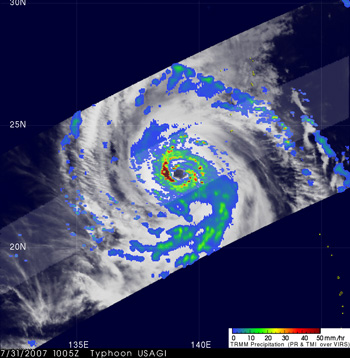 Typhoon Usagi seen by TRMM on July 31, 2007