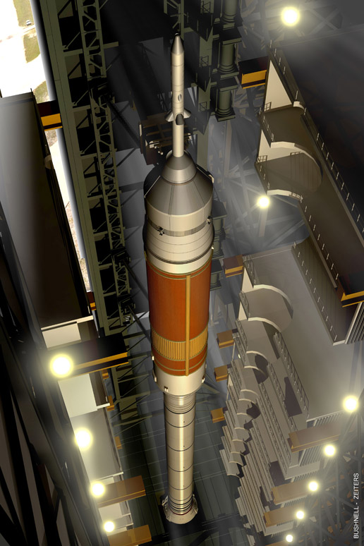 Ares I rocket being 'stacked' in the Vehicle Assembly Building