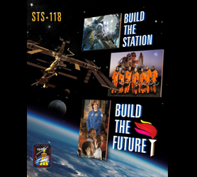 An STS-118 poster with photos that represent the mission