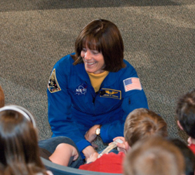 Mission specialist Barbara Morgan talks with students