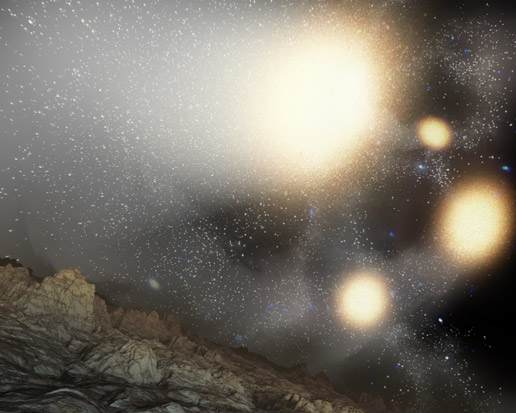 This artist's concept shows what the night sky might look like from a hypothetical planet around a star