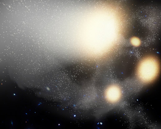 This artist's concept illustrates one of the largest smash-ups of galaxies ever observed.