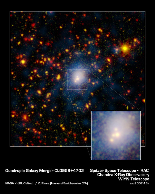 One of the biggest galaxy collisions ever observed is taking place at the center of this image.
