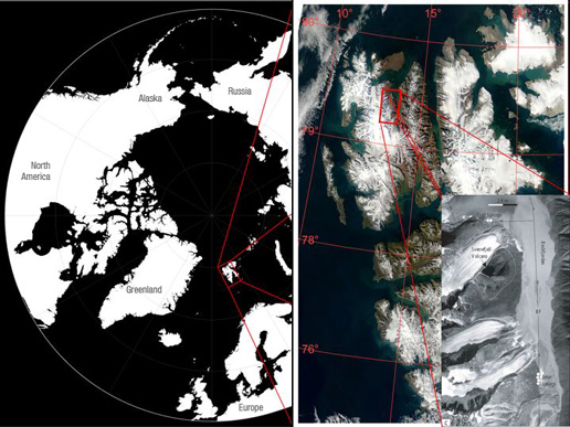 Satellite images showing where Svalbard is located within the Arctic Circle