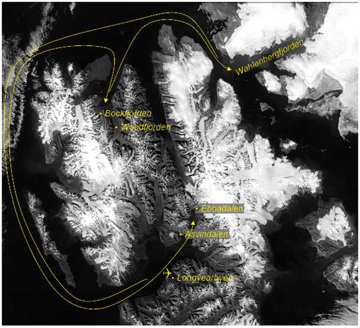 Satellite image of Svalbard with arrows added showign the AMASE 2007 routing