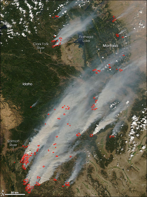 MODIS Image of the Montana and Idaho wildfires