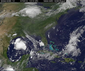 GOES image of Tropical Storm Erin
