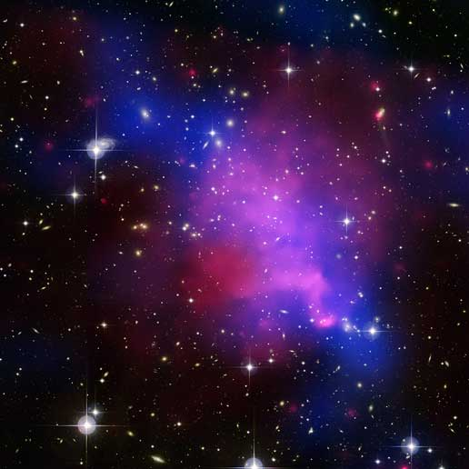 Image of Abell 520 showing aftermath of a complicated collision of galaxy clusters