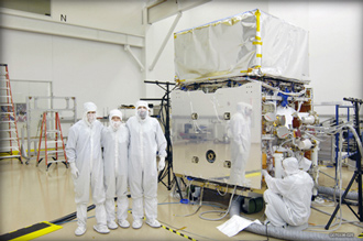 image of the GLAST Observatory in the General Dynamics clean room