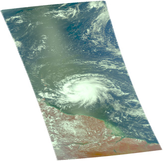 Satellite image of Hurricane Dean