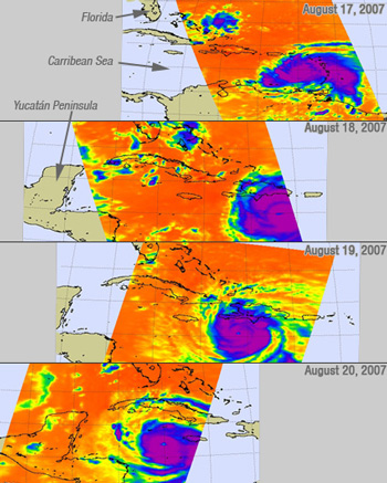 AIRS Progression of Images from August 17 to August 20 of Hurricane Dean