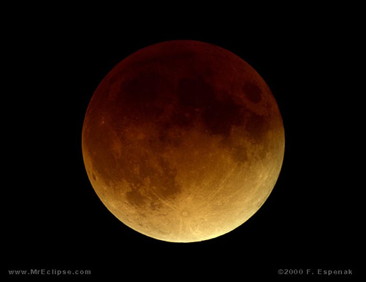 This picture of total lunar eclipse was capture January 20-21, 2000
