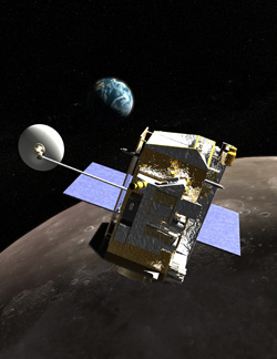 Image of the LRO spacecraft in orbit around the Moon