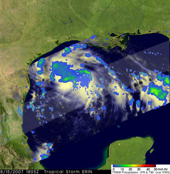 Image of Tropical Storm Erin from TRMM