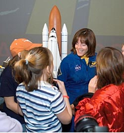 Astronaut Barbara Morgan speaks with students