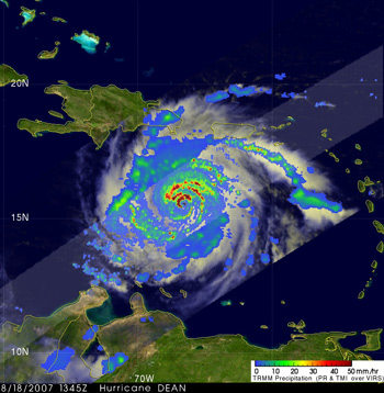 TRMM Image of Hurricane Dean from August 18, 2007