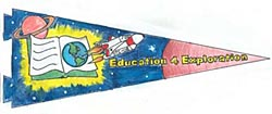 A pennant showing the shuttle flying near a book with a picture of Earth. Mars and Saturn are in the background.