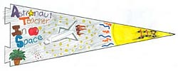 A pennant with the words Astronaut Teacher In Space showing a plant, the space shuttle, the sun and the number 118