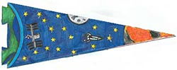 A pennant showing Earth, the International Space Station, moon, space shuttle and Mars