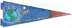 A pennant showing Earth, the space shuttle and Mars