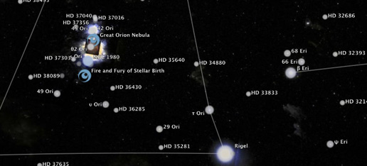 882bfeb156ec Screen capture of the Orion constellation border and numerous astronomical  objects located in the direction of