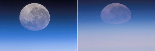 (From left) iss015e20485; iss015e20011; The full moon