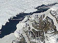 A satellite image of the Ayles Ice Shelf floating near Canada's Ellesmere Island