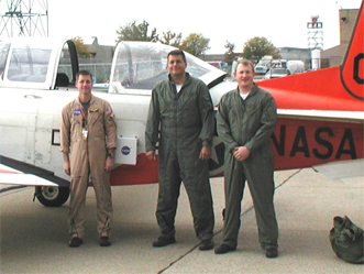NASA team with T-34 aircraft