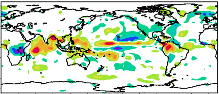 Over the 27 years between 1979 and 2005 some areas of the tropics experienced an increase in rainfall of as much as 0.5 millimeters per day per decade.