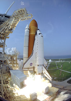 Space Shuttle Endeavour launches on the STS-118 mission.