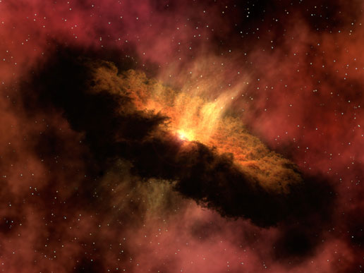 Ilustración de un sistema planetario en formación. NASA.