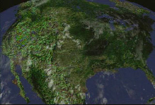 Clouds over North America on August 2, 2000, as measured by GOES-11.