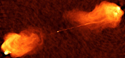 radio image of two jets shooting out of the center of active galaxy Cygnus A