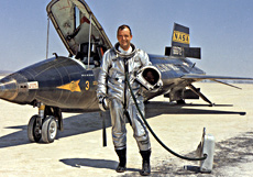 Bill Dana in front of the hypersonic X-15