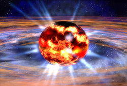 closeup of neutron star before explosion