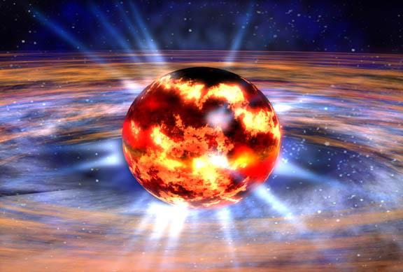 صورة تخيلية توضح شكل النجم النيوتروني. الحقوق: ناسا.