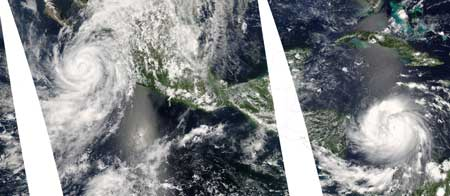 The Moderate Resolution Imaging Spectroradiometer instrument on NASA's Aqua satellite captured images of the two hurricanes as they were near Central America