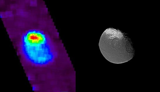 Ultraviolet image of Iapetus on the left and a visible light image of the moon on the right