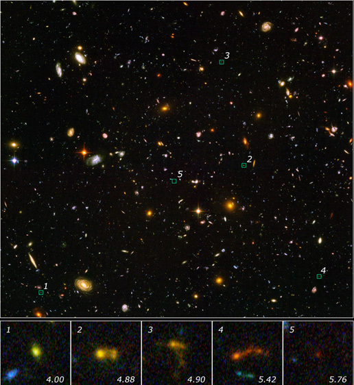 This is an image from Hubble's Ultra Deep Field showing several faint objects that may be the most compact galaxies ever observed in the distant universe.