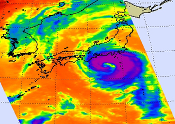 Infrared image of Typhoon Fitow