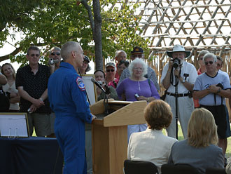Astronaut Pat Forrester speaks at the Jamestown Settlement